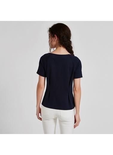 Vekem-Limited Edition Kayık Yaka Önü Büzgülü Bluz Lacivert